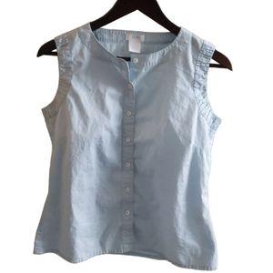 4/$25 - Baby blue cute as a button vest blouse